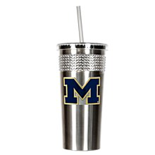 University of Michigan Tumbler 14oz Stainless Bling Tumbler with straw w/ Metal Emblem