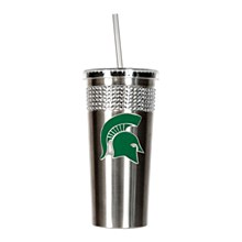 Michigan State University Tumbler 14oz Stainless Bling Tumbler with straw w/ Metal Emblem