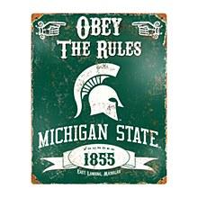 Michigan State University Sign - Embosses Vintage Metal  14.5'' x 11.5''