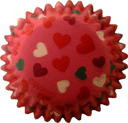 Wilton Mini Baking Cups: Pink W Heart