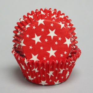 Baking Cups Red / White Stars