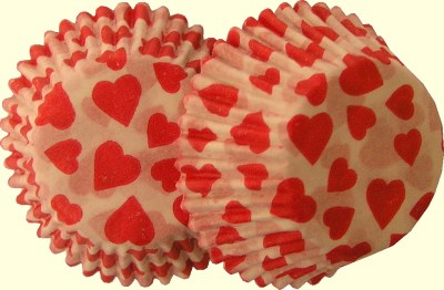 #6 Red Heart Print Candy Cups/