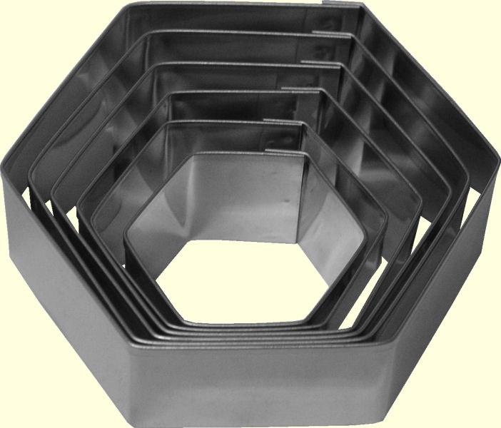ATECO Hexagon Cutters Plain 6 Pc Set