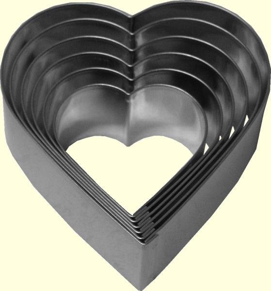 ATECO Heart Cutters Plain 6 Pc Set