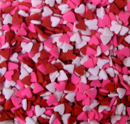 Confetti: Pink Red & White Hea