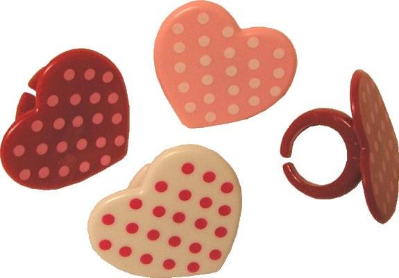 Polka Dot Heart Rings 12/pkg