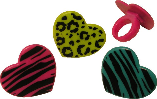 Animal Pring Heart Rings 12/pk