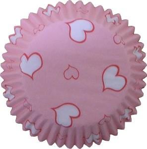FOX RUN Baking Cups Hearts Pink & Whit