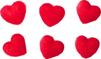 Sugar Decorations: Red Hearts/