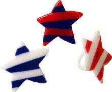 R/w/b Stripe Puffy Star Rings/