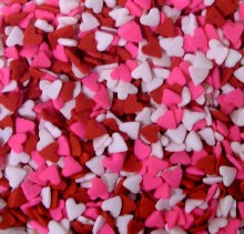 Confetti: Pink Red & White Hea