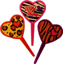 Animal Print Heart Picks