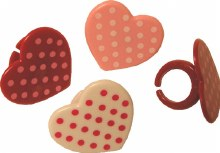 Polka Dot Heart Rings 12/pkg
