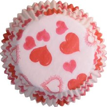 FOX RUN Baking Cups Hearts Pink & Red/