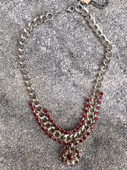 Statement Silver Crimson Stone