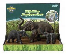 Asian Elephant With Babies Set