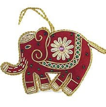 Beaded Red Elephant Ornament
