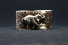 Cowhide With Silver Elephant