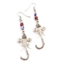 Elephant Trunk Silver Earrings
