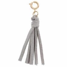 Grey Leather Tassel Charm