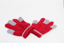 Red And Grey Kid's Gloves