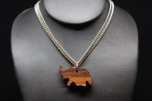 Silver W/wood Elphnt Necklace
