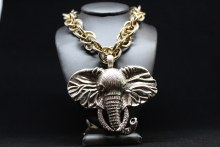 Silver With Gold Elephant Head