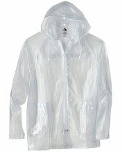CLEAR HOODED RAIN JACKET SMALL CLEAR