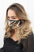 TIGER PRINT FACE MASK WITH BOARDER