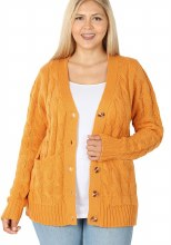 PLUS CABLE KNIT CARDIGAN 1XL MUSTARD