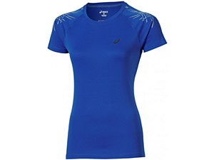 Asics Stripe Top Short Sleeve Blue