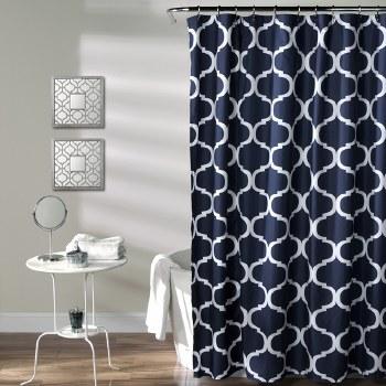 Geo Shower Curtain - Navy