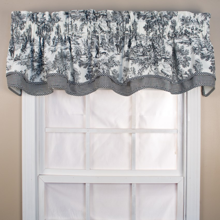 T675 Victoria Toile Bradford Valance, Black Toile Curtains