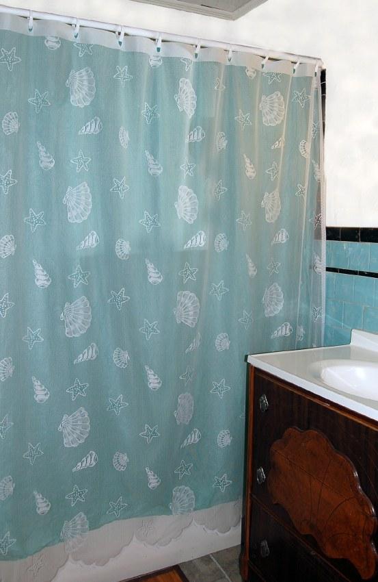 Seashells Lace Shower Curtain White