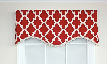 Lindy Cornice Valance - Red
