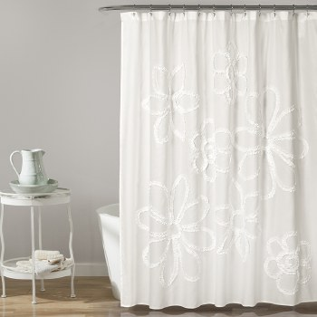 Ruffle Flower Shower - White