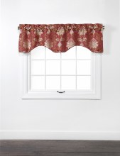Doris Lined Scallop Valance with Cording - Burgundy