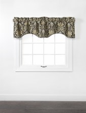 Doris Lined Scallop Valance with Cording - Onyx