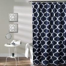 Geo Shower Curtain - Navy
