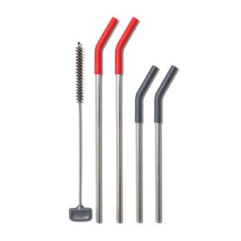 5-piece Reusable Straw Set Red