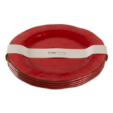 Melamine Dinner Plate Red Set/4