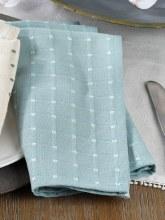 "Cousu Stitched Napkin 20"" Aqua"