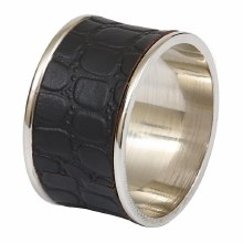 Black Croc Faux Leather Napkin Ring