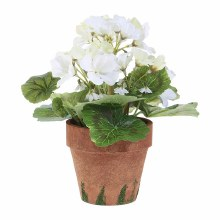 "Potted Geranium 9"" White"