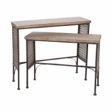Rustic Table Wood Top with Tin Large