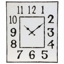 Distressed Clock White/Black 19""