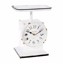 Scale Clock White Enamel 11""