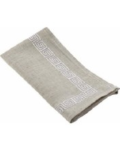 "Stiched Greek Key Napkin 20"" Square White"
