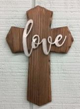 Wood Cross With Tin - Love