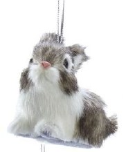 Furry Bunny Ornament Brown
